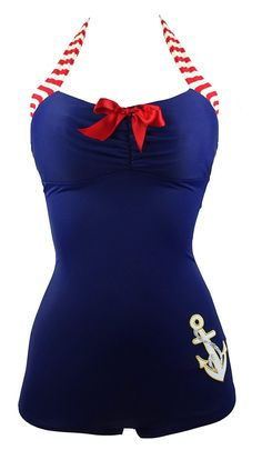 09ca7ed80f Pinup Retro Navy Blue Nautical One Piece Maillot Anchors Sailor Swimsuit
