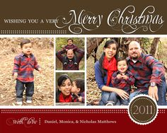 Christmas Photo Card -- Holiday Photo Card (digital or print yourself) custom, personalized.
