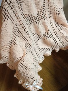 Gorgeous fillet crochet baby blanket with hearts by headcandy1, #Cute Blankets