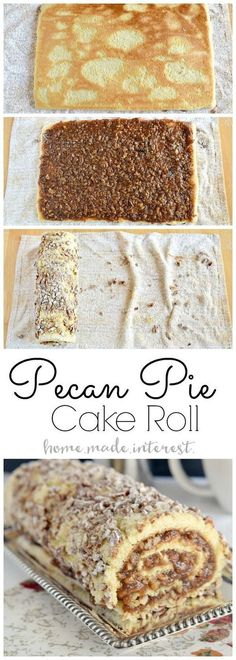 Pecan pie filling rolled into a light sponge cake make this pecan pie cake roll a perfect Thanksgiving dessert. Pecan pie filling rolled into a light sponge cake make this pecan pie cake roll a perfect Thanksgiving dessert. Holiday Desserts, Holiday Baking, Just Desserts, Delicious Desserts, Yummy Food, Non Dairy Desserts, Autumn Desserts, Pecan Desserts, Pecan Pie Cake