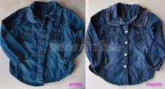 Pedacinhos de Arco Íris: Camisa de ganga de menina - antes e depois (before and after, girl denim shirt)