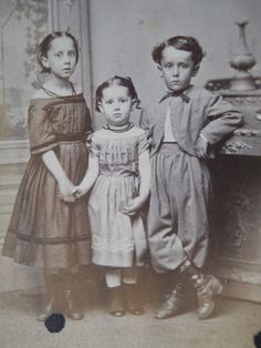 Three darling children nicely attired in Civil War Era, CDV Photo, Rockford, Illinois Vintage Children Photos, Vintage Pictures, Old Pictures, Old Photos, Vintage Images, Victorian Photos, Antique Photos, Vintage Photographs, Civil War Fashion