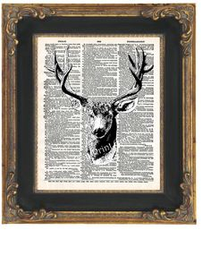 Deer Taxidermy Art Print 8 x 10 on Dictionary Page  by fringepop, $10.00