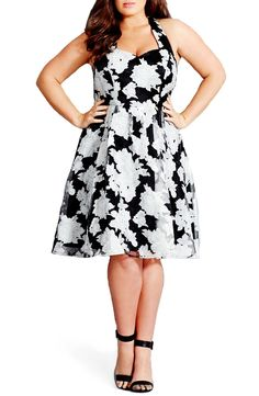 City Chic 'Mono Dream' Print Fit & Flare Dress (Plus Size)