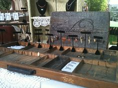 Tangleweeds, maker of hand-crafted jewelry, uses a typesetter's drawer to as a jewelry display at craft fairs.  Great idea!  http://www.etsy.com/shop/Tangleweeds