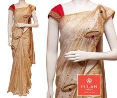 Bejeweled saree- Bangle design in tissue raw silk saree. Raw Silk Saree, Indian Silk Sarees, Georgette Sarees, Onam Saree, Kerala Saree, Saree Models, Blouse Models, White Saree, Elegant Saree