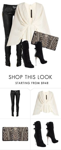 """""""Untitled #91"""" by nelafashion ❤ liked on Polyvore featuring Balmain and Elie Saab"""