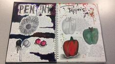 Pen and Ink / Peppers - Natural Forms - Double Page Spread