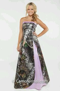 Fabulous Pink Camo wedding dress thats awesome im gonna wear that