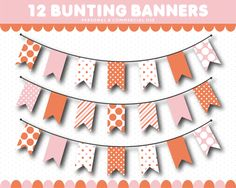 Blush pink bunting banner flag cliparts with stripes and polka dots, Pink Bunting, Bunting Banner, Plum Purple, Blush Pink, Blue Flag, Bridesmaid Jewelry, Flyer Template, Clip Art, Paper