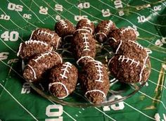 Rice Crispy Treat Footballs.  Cut and delicious.  I added the link to the recipe.  Happy Super Bowl!  Jessica E