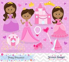 African American Princess Clipart and Vectors. Personal and commercial use okay. Perfect for a Princess Party, scrapbooking, and other crafting.