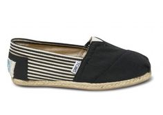Womens Canvas Shoes, Black, White, Striped, Canvas Classics | www.TOMSShoes.ca | TOMS.ca #toms