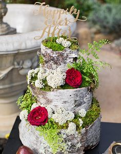 This cake is for the risk takers who aren't afraid to take their wedding details to the next level! See more of these Shakespeare Inspired Wedding Ideas here captured by Alyssa Marie Photography with cake by Rosebud Floral.