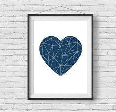 Navy Art, Love Heart Print, Geometric Poster, Nursery Art, Scandinavian Poster…