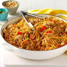 Thai Chicken Peanut Noodles Recipe -My husband loves the spicy Thai flavors in this speedy, simple dish and often breaks out the chopsticks for a more immersive experience. — Jennifer Fisher, Austin, Texas