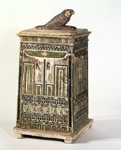 Canopic chest:Medium: Wood, painted Reportedly From: Saqqara, Egypt Dates: ca. 380-30 B.C.E. Dynasty: XXVI Dynasty (or later) Period: Late Period-Ptolemaic Period