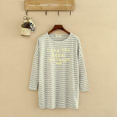 Y260 chubby2016 outono inverno novos Coreano grande tamanho mulheres assentamento camisa impressão fino longo listrado si em Blusas & Camisas de Das mulheres Roupas & Acessórios no AliExpress.com | Alibaba Group