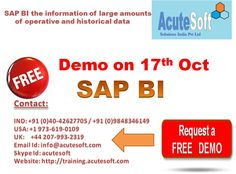 We have best Online Training instructor to teach SAP BI Online Course. SAP BusinessObjects business intelligence ( BI ) solutions #SAPBIFREEDEMO