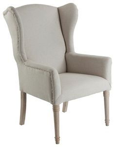 Eli French Country Wing Back Occasional Chair- Light Linen armchairs