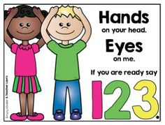 Cute saying to get kids listening and not playing with things while doing so. Free poster from Simply Kinder!