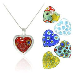 @Overstock - Add a splash of color to your wardrobe with this glass heart necklace set. Each pendant is set in sterling-silver and features a lovely flower design, offering you a cute look day-after-day. An included rolo chain lets you accent any outfit.http://www.overstock.com/Jewelry-Watches/SS-Murano-Glass-Interchangeable-Heart-Pendant-Set/2560026/product.html?CID=214117 $20.69