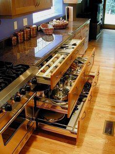 Kitchen Remodeling Ideas 46  #RemodelingIdeas Easy Storage, Pot Storage, Drawer Storage, Storage Ideas, Kitchen Ideas For Storage, Kitchen Spice Storage, Kitchen Organization, Storage Organization, Pantry Ideas
