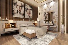 Modern Master Bedroom With Living Area - Qatar on Behance Modern Luxury Bedroom, Luxury Bedroom Design, Modern Master Bedroom, Home Room Design, Luxurious Bedrooms, Bed Design, Lightroom, Adobe Photoshop, Modern Masters