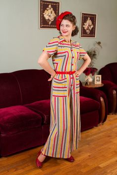 Vintage Jumpsuit - Rare Striped Cotton Plisse Wide Legged Jumpsuit with Button Front in Tomato Red, Yellow and Charcoal Grey Vintage Dresses 50s, Vintage Outfits, Red Jumpsuit, 1940s Fashion, Vintage Fashion, 1940s Woman, 1940s Outfits, 20th Century Fashion, Outfits
