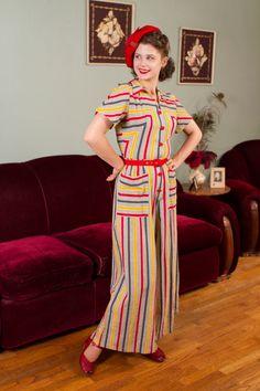 Vintage 1940s Jumpsuit Rare Striped Cotton Plisse Wide by FabGabs