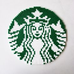 Starbucks logo perler beads by perler_art - Pattern: http://www.pinterest.com/pin/374291419001942555/