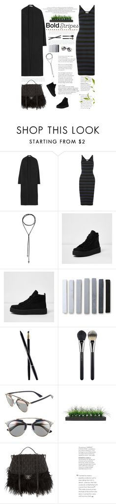 """""""Big, Bold Stripes"""" by amimcqueen ❤ liked on Polyvore featuring MANGO, Tomas Maier, River Island, Chanel, MAC Cosmetics, Christian Dior and Laura Ashley"""