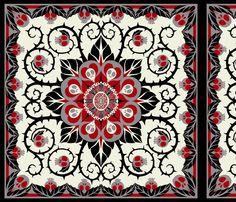 Deadly Nightshade Hawaiian Quilt - Suzani fabric by ceanirminger on Spoonflower - custom fabric