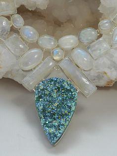 Moonstone and Titanium Druzy Gemstones Necklace 1
