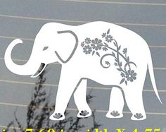 Elephant with flowers design car window decal