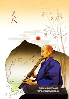 Zen Shakuhachi Music Monk Bushido Samurai Interior Art Print Painting Home Decor Japanese Art Samurai, Urban Samurai, Samurai Art, Shakuhachi Flute, Japanese Bamboo, Zen, Oriental, Art Prints, Music