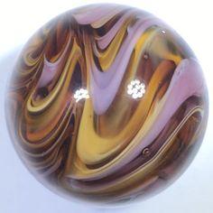 "Beautiful 1"" Handmade Marble WGA Steve Willis Glass Art 2017 Amber Purple Pink U"