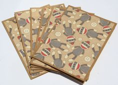 6 Blank Note Cards Sock Monkey by Glued2Paper on Etsy