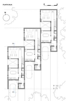 architecture - Gallery of CLF Houses / Estudio BaBO - 16 Layouts Casa, House Layouts, Architecture Plan, Residential Architecture, The Plan, How To Plan, Townhouse Designs, Narrow House, Social Housing