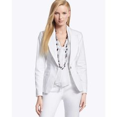 White House Black Market. Structured jacket. Blouse. Necklace. Jewelry.