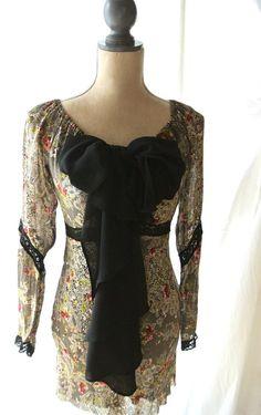 French country bow dress bardot retro dress by TrueRebelClothing, $68.00