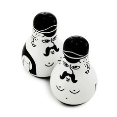 """The pair of salt and pepper shakers - which have been nicknamed Gordon & Andreas - belong to the Friends series which stands out as having personality, humour and character. The design plays on the double meaning of the Danish word 'bøsse' (which means both 'shaker' and 'gay'), and the two friends come with or without a painted leather vest, signifying either the"" top or the bottom.  Er, I mean, ""salt or the pepper shaker""."