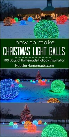WOW your neighbors with these Christmas Light Balls! Made with just a couple supplies! Your Christmas Outdoor Decorations will be the talk of the neighborhood! Visit our 100 Days of Homemade Holiday Inspiration for more recipes, decorating ideas, crafts, homemade gift ideas and much more! #christmaslightsyard #homemadechristmasdecorations #christmaslightdecorations #outdoorchristmasdecorations #christmasdecorations #christmasdecorationsoutdoor