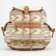Crochet Trim Ethnic Print Backpack ($35) ❤ liked on Polyvore featuring bags, backpacks, natural, pocket bag, brown canvas bag, canvas backpack, print backpacks and canvas zip bag