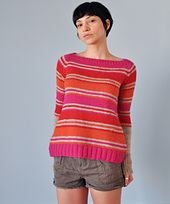 This striped jumper is knitted seamlessly from the top.