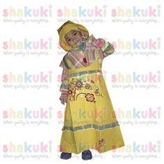 Overall 2in1 Yellow with Flower Moslem Girl Dress Set. Detail and order, pls visit http://www.shakuki.com/1711,2407-0314-overall-2in1-yellow-with-flower-moslem-girl-dress.html