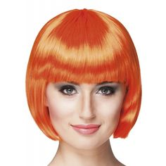 Oranje damespruik met moderne boblijn. Deze pruik is voor echte oranje sexy Vamps. Creeer een sexy look met deze oranje damespruiken.