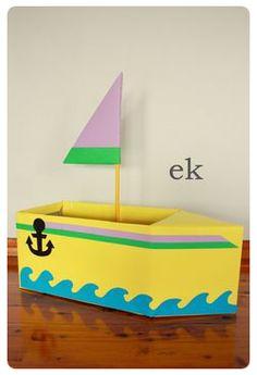 Box Car Tutorial {Part 2 – larger truck} – emilia keriene Cardboard Box Boats, Cardboard Crafts, Make A Boat, Build Your Own Boat, Diy For Kids, Crafts For Kids, Boat Crafts, Truck Crafts, Valentine Box