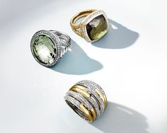 Sculptural rings with gemstones and diamonds.