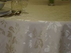 Cream Leaves, reversable, 320 cm Round/216x320 cm rectangular/Special Size damask tablecloths, Table runners, Napkins. Easy clean, Quick dry. Long life.